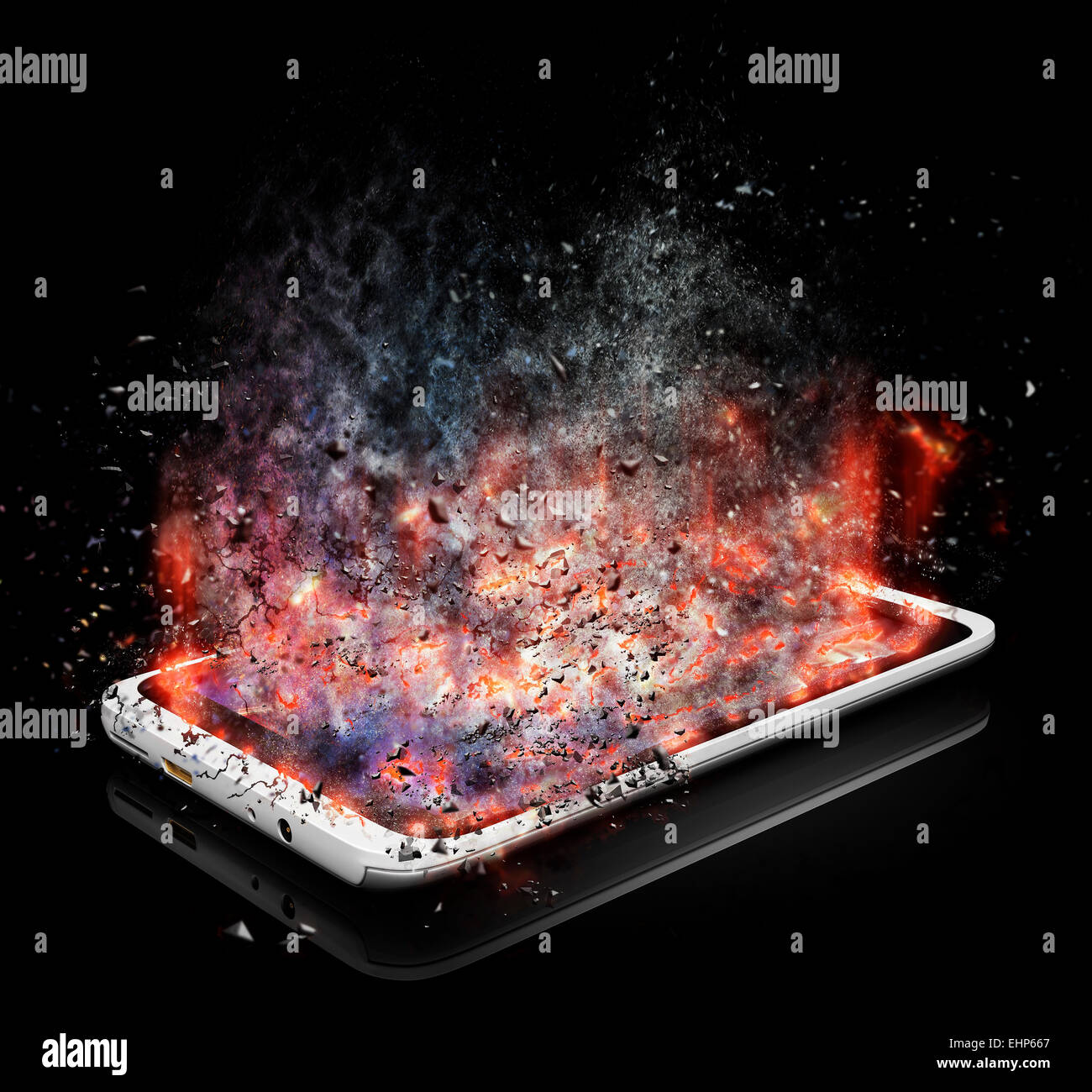 Tablet PC with shattered screen - Stock Image