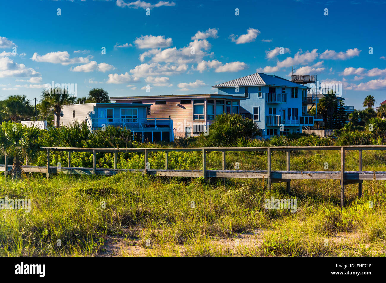 Bridge over dune grasses and beach houses in Vilano Beach, Florida. - Stock Image