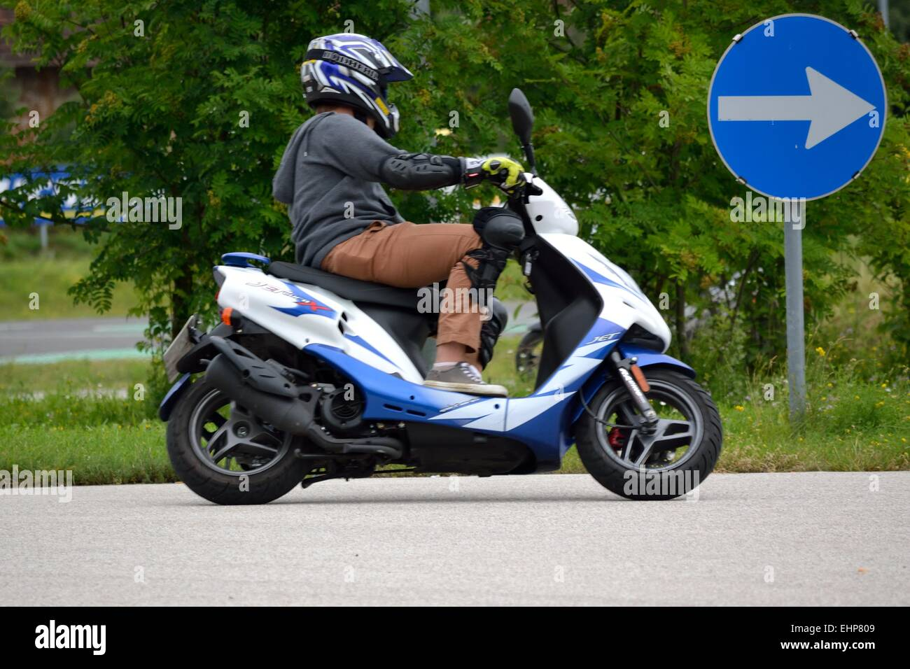 Moped driver training for young people Stock Photo