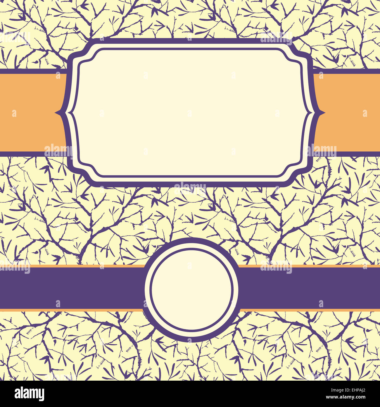 set of painted tree brunches seamless pattern background and frames ...
