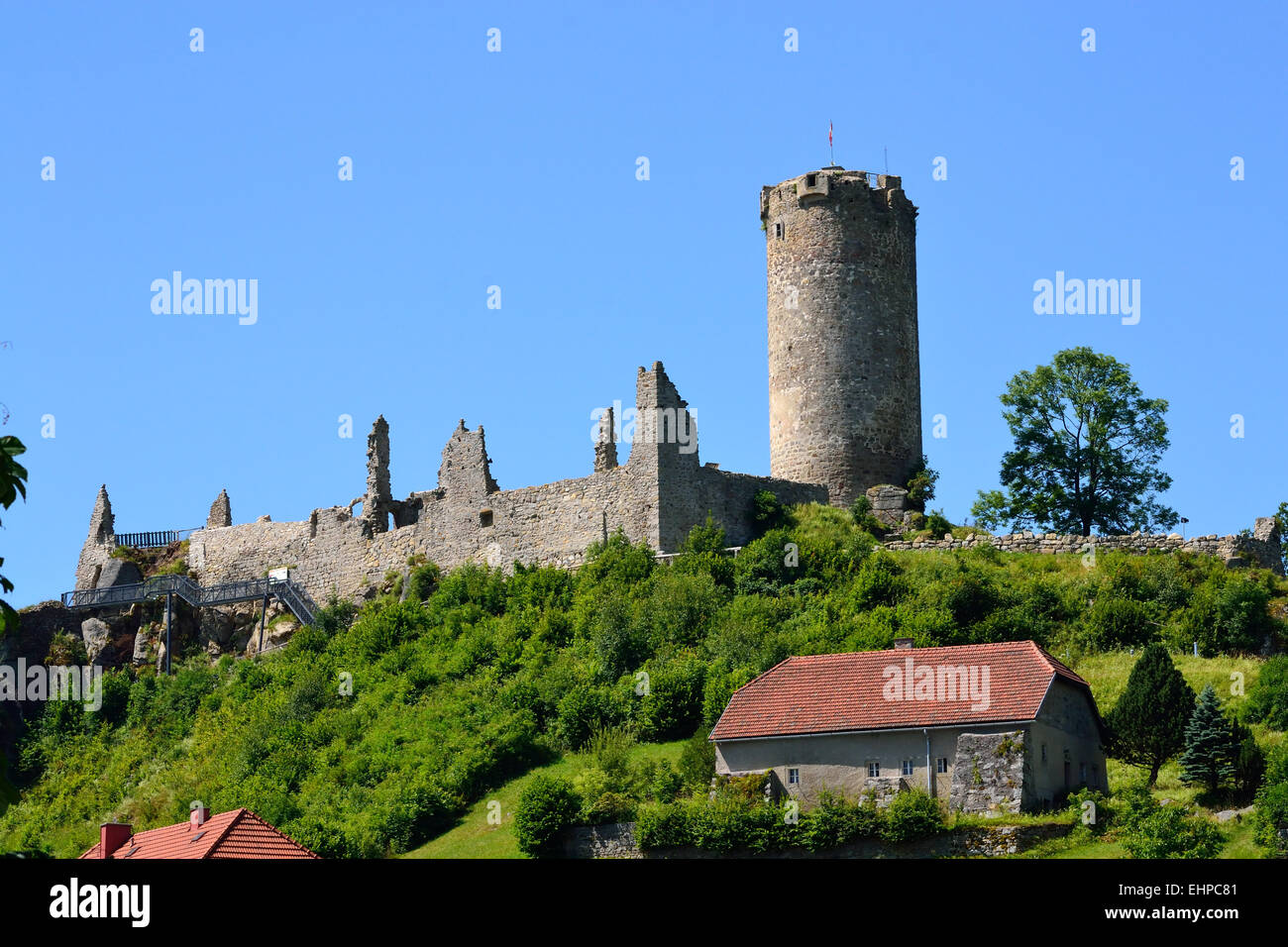 Ruined castle on the hill - Stock Image