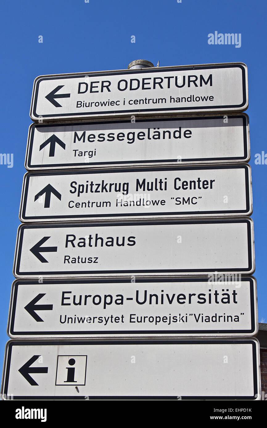 Signpost Frankfurt Oder - Stock Image