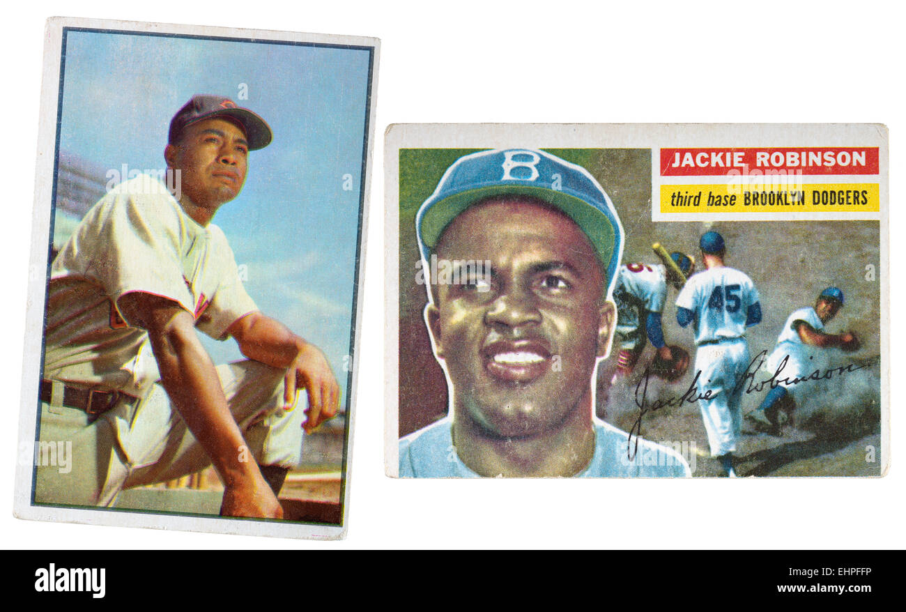 1953 baseball card of Larry Doby and a 1956 baseball card of Jackie Robinson Stock Photo