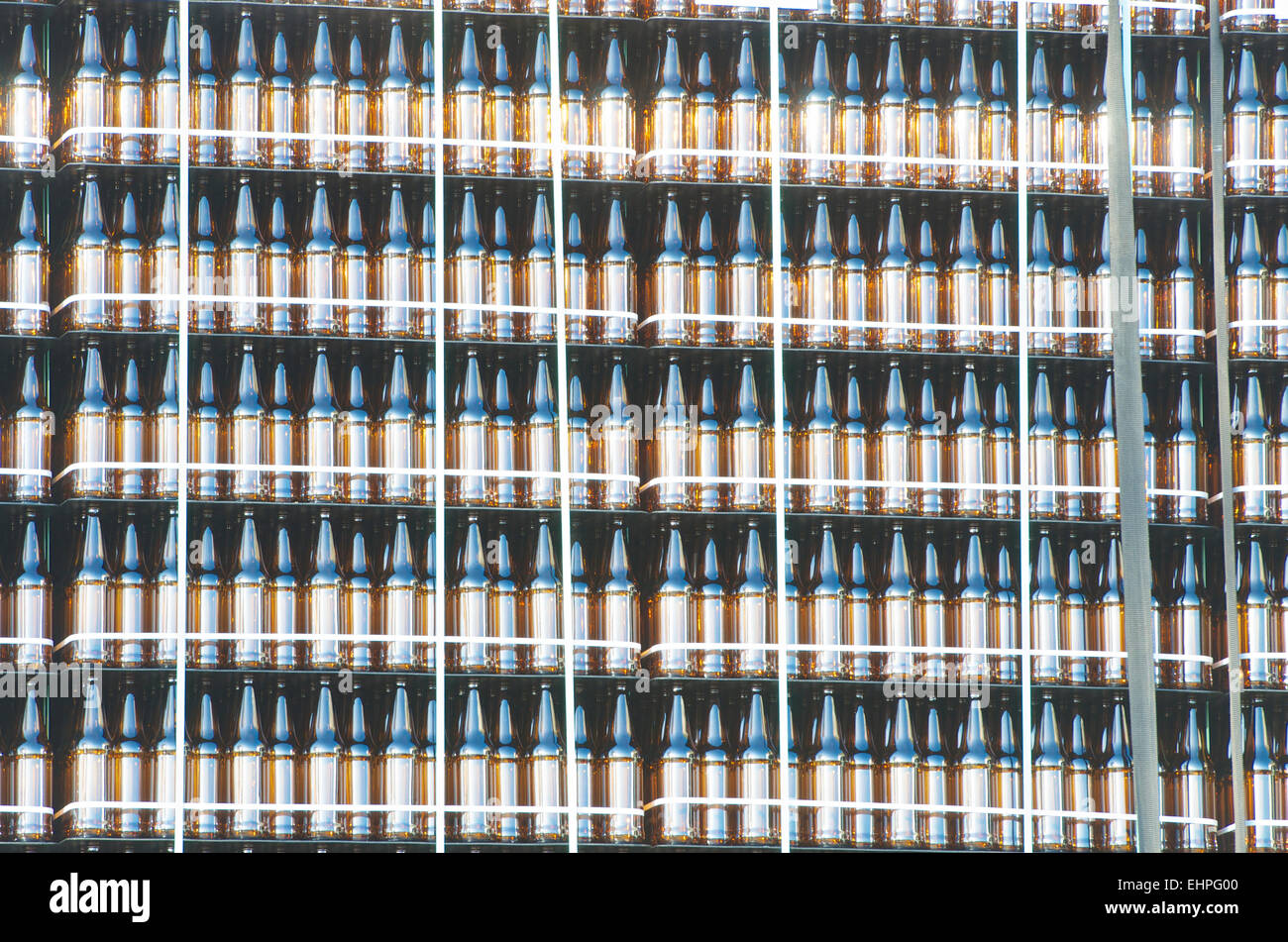Brown Beer bottles, Carlsberg Brewery, Northampton. - Stock Image