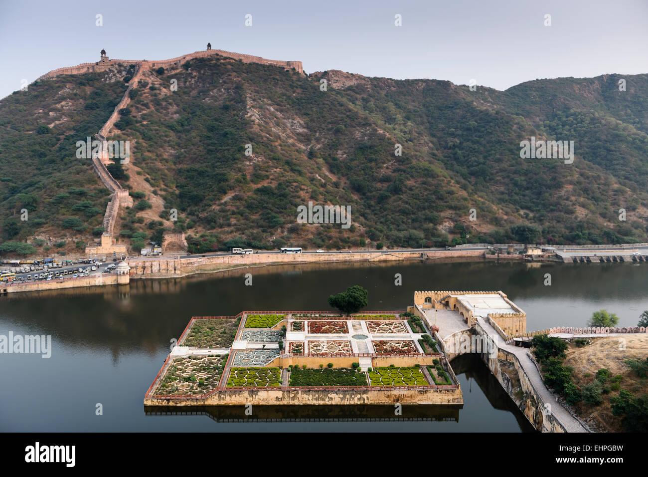 View of Maotha Lake with Kesar Kyari Gardens from Amber Fort & Palace, Jaipur. - Stock Image