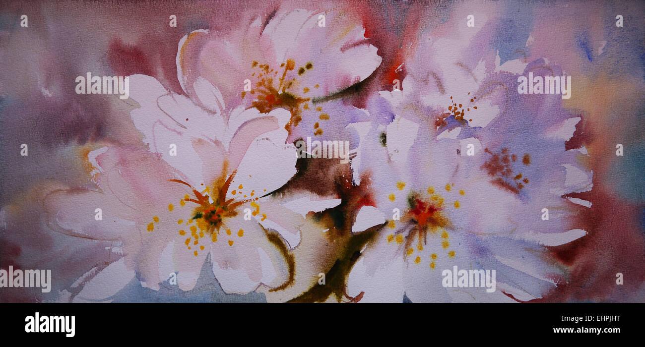 Watercolor painting of the beautiful flowers stock photo 79788180 watercolor painting of the beautiful flowers izmirmasajfo