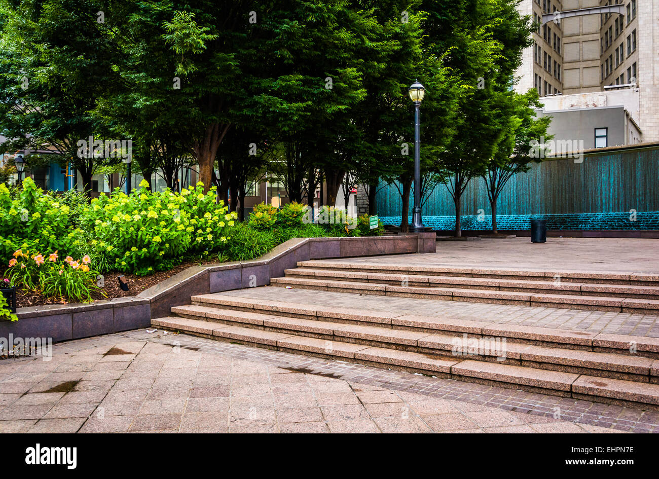 Fountains and garden at Woodruff Park in downtown Atlanta, Georgia. - Stock Image