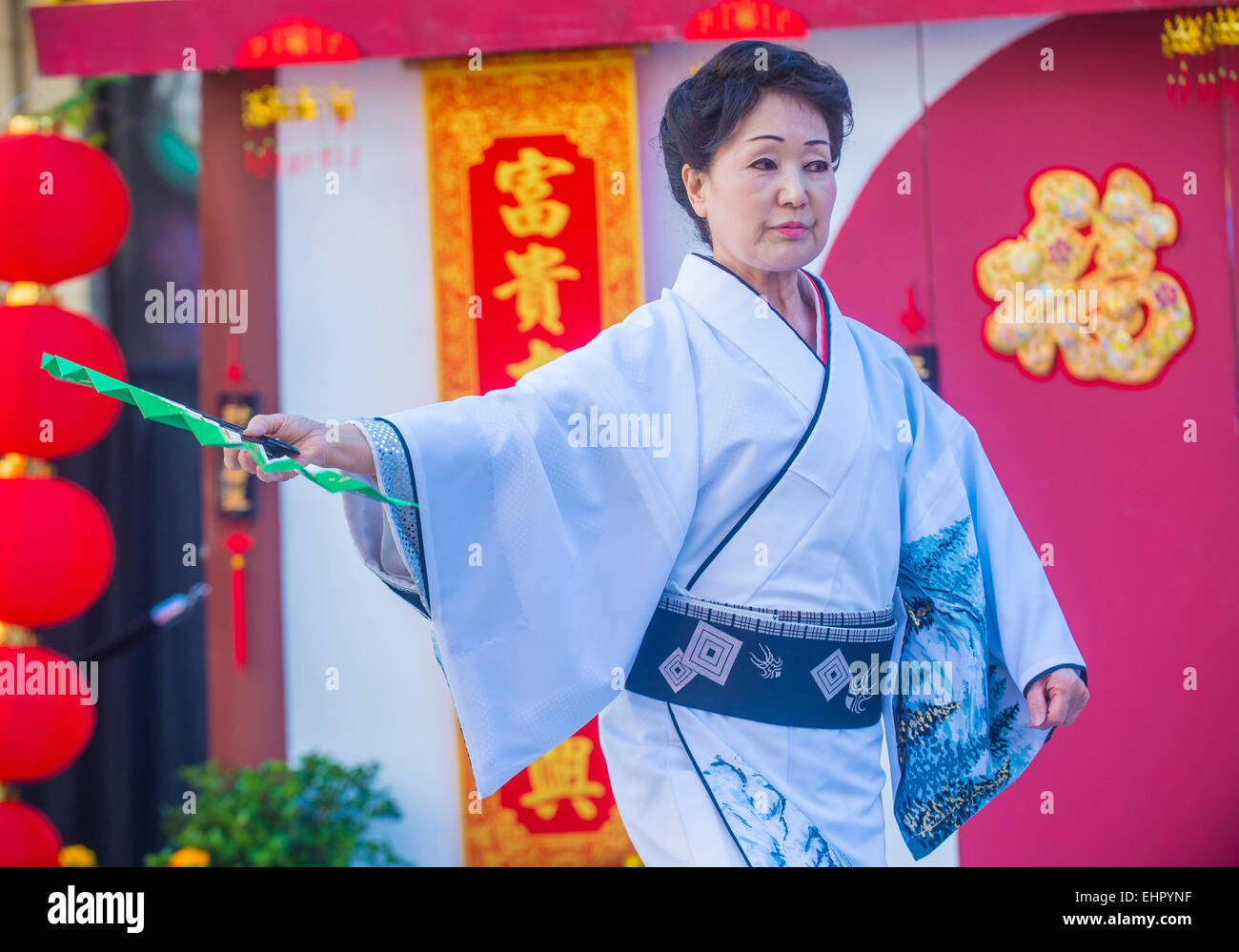 Japanese folk dancer perform at the Chinese New Year celebrations held in Las Vegas Stock Photo