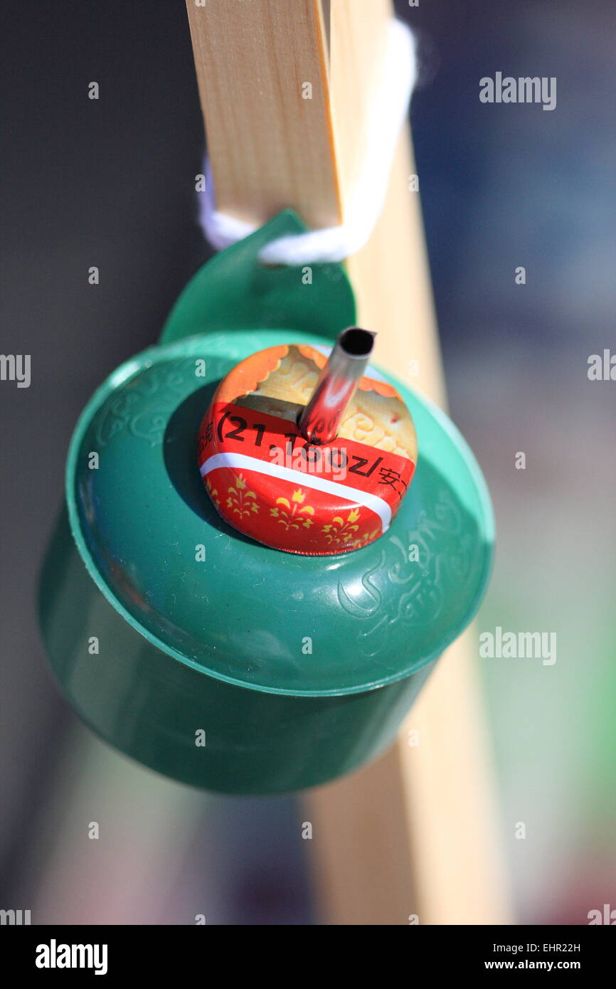 Close up of unlit oil lamp taken at Malaysian festival in Melbourne Australia - Stock Image