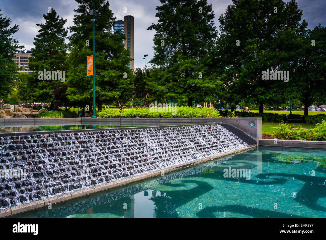 Waterfall and pool at Centennial Olympic Park in downtown Atlanta, Georgia. - Stock Image