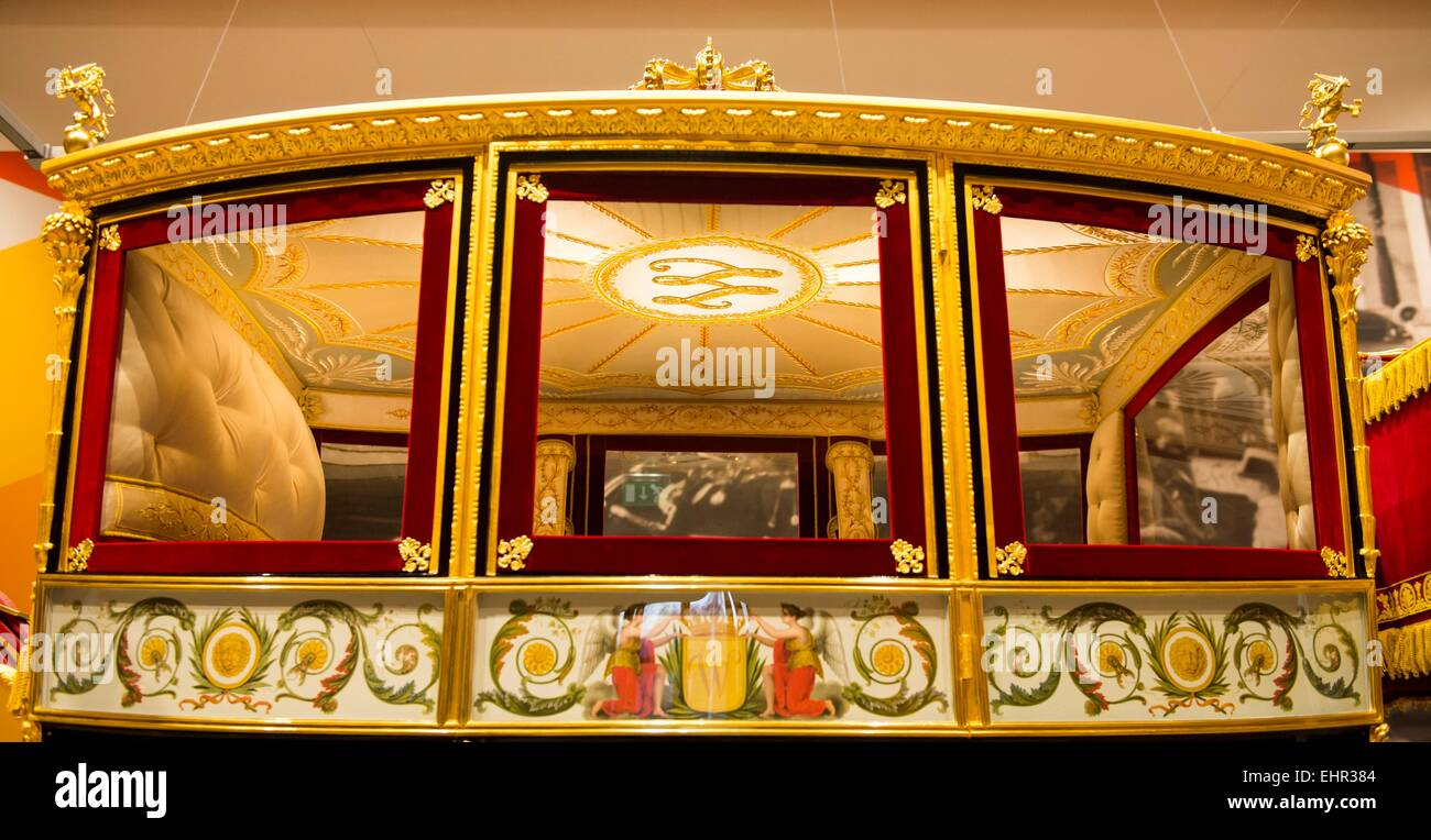The restored Glass Coach at the Louwman Museum in The Hague, The Netherlands, 16 march 2015. The Glass coach is Stock Photo