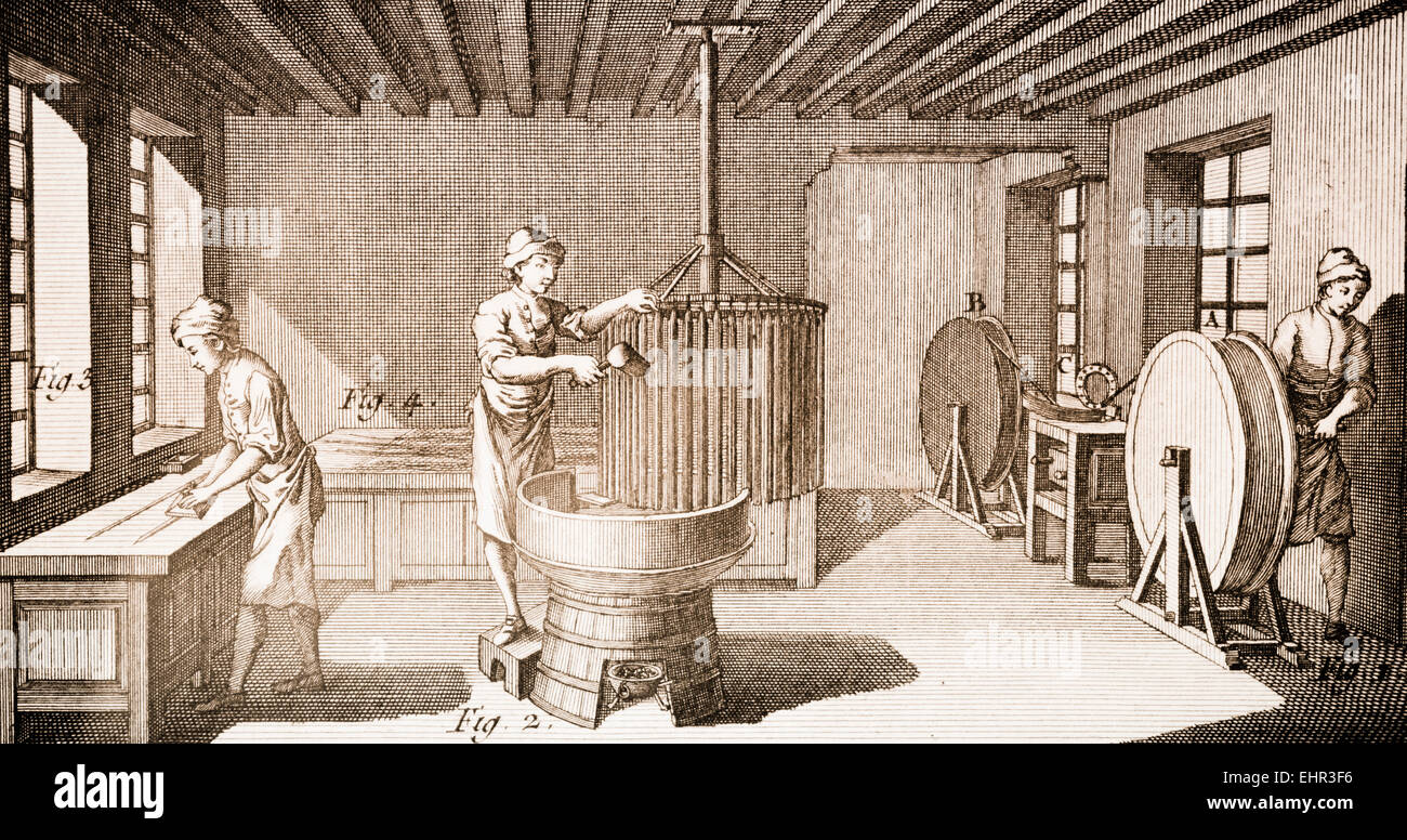 Candle factory, workers. Antique engraving. - Stock Image