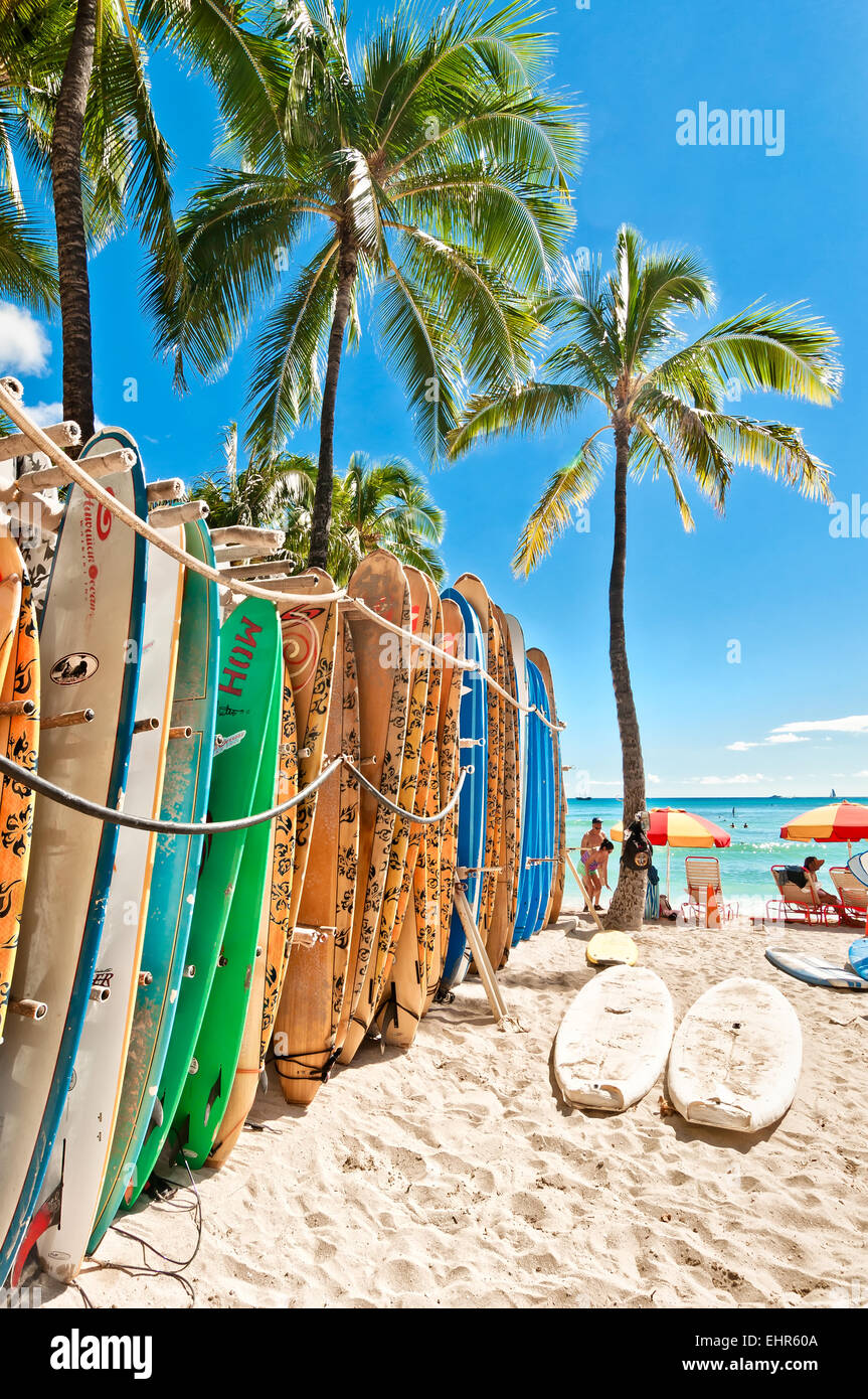 Honolulu, HI, USA - September 7, 2013: Surfboards lined up in the rack at famous Waikiki Beach in Honolulu. Oahu, - Stock Image