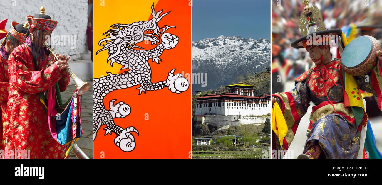 The Kingdom of Bhutan - Paro Tsechu, Flag of Bhutan, Paro Dzong, Paro Tsechu. - Stock Image