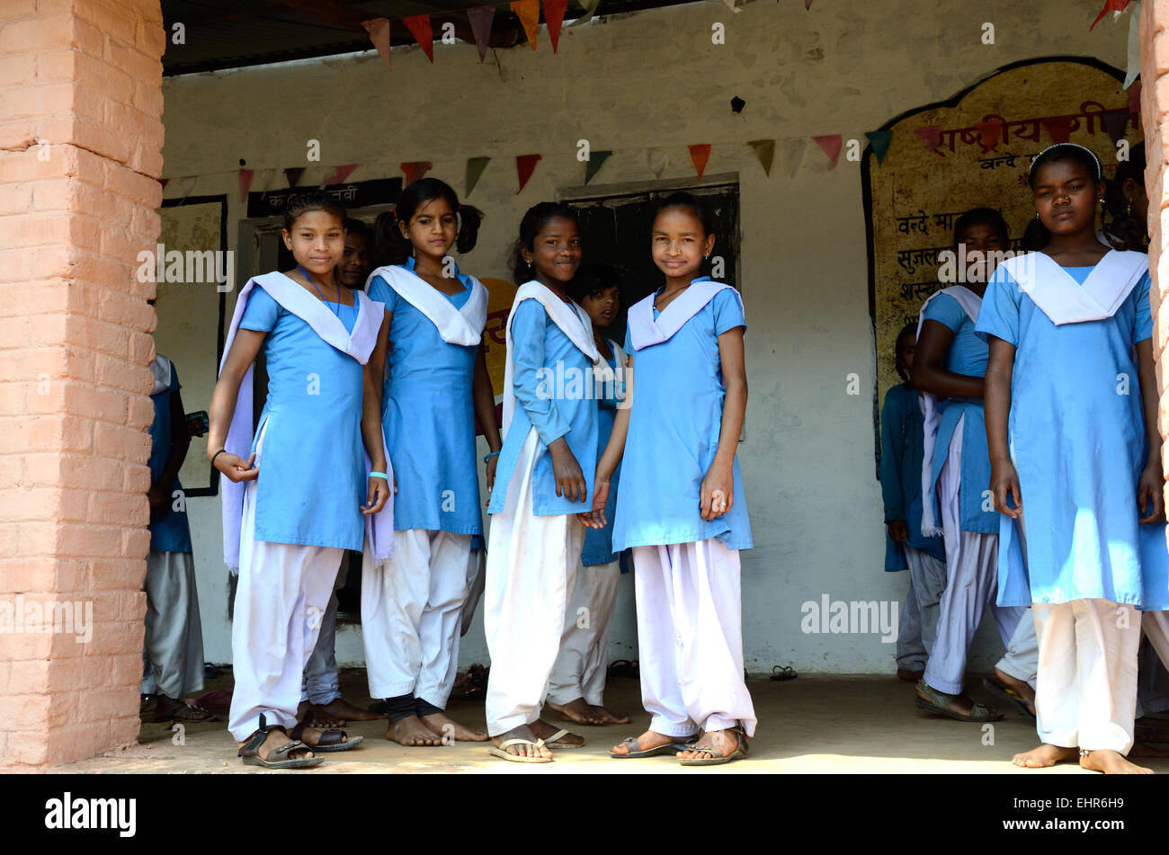 A Group Of Indian School Girls Wearing School Uniform In A Government Run School Madhya Pradesh