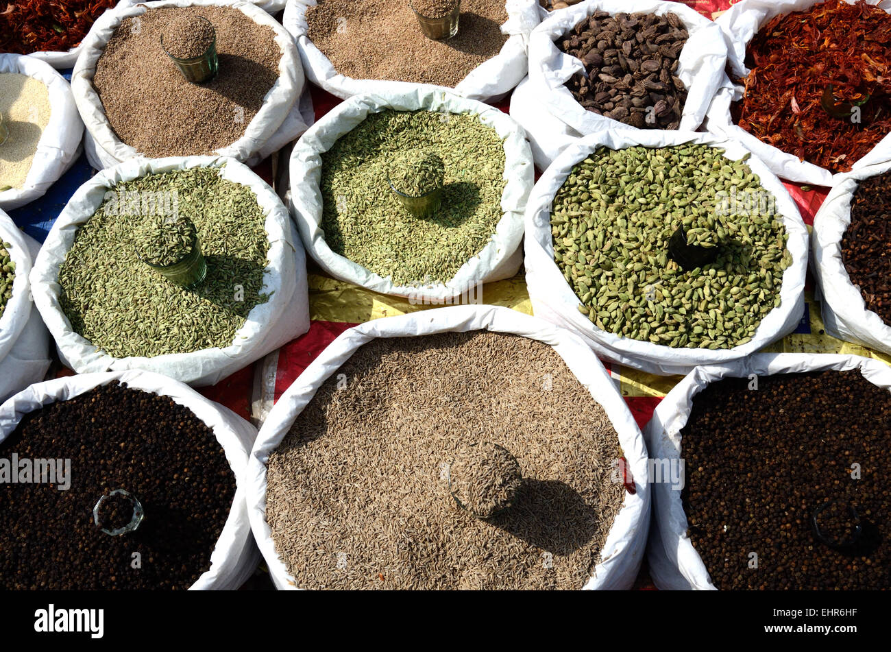 Spices for sale at an Indian market Madhya Pradesh India - Stock Image