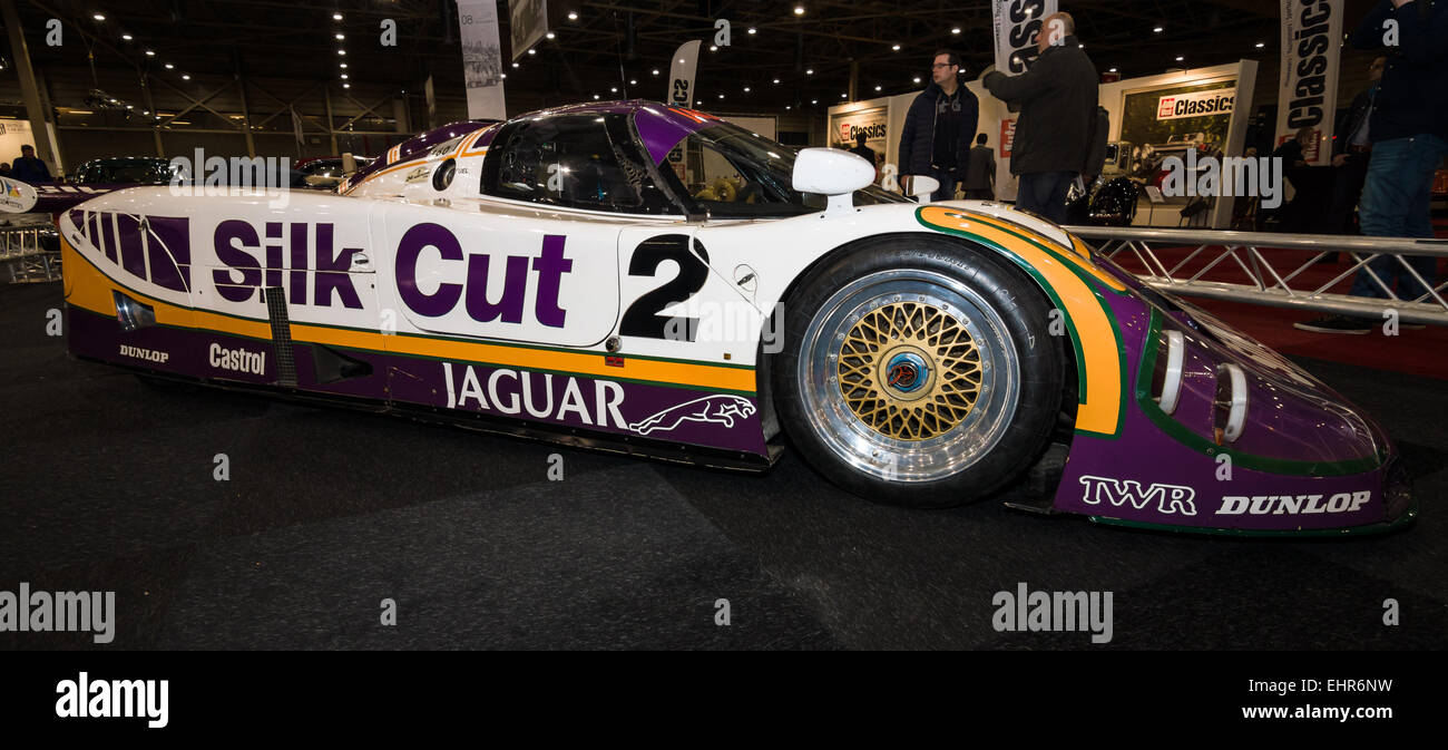 A Sports Prototype Race Car Jaguar XJR 9. Team Silk Cut, Winner Of The 24  Hours Of Le Mans, 1988