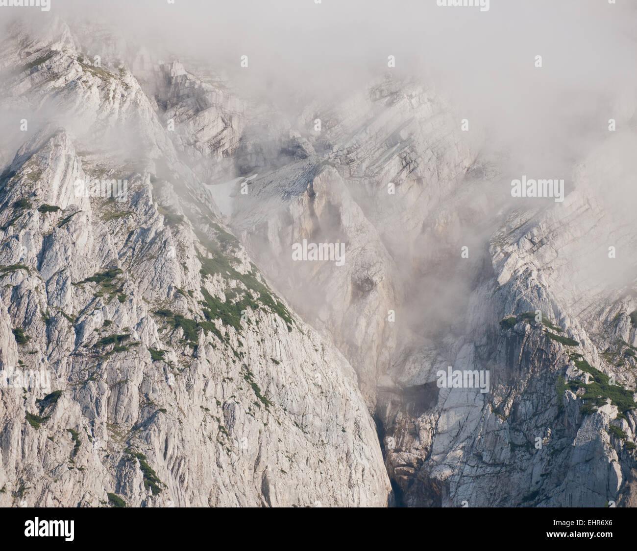 Grimming im Nebel, Salzkammergut, Styria, Austria - Stock Image