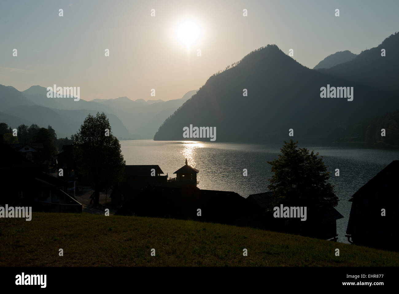 early morning view from Mosern over Grundlsee towards Totes Gebirge Stock Photo