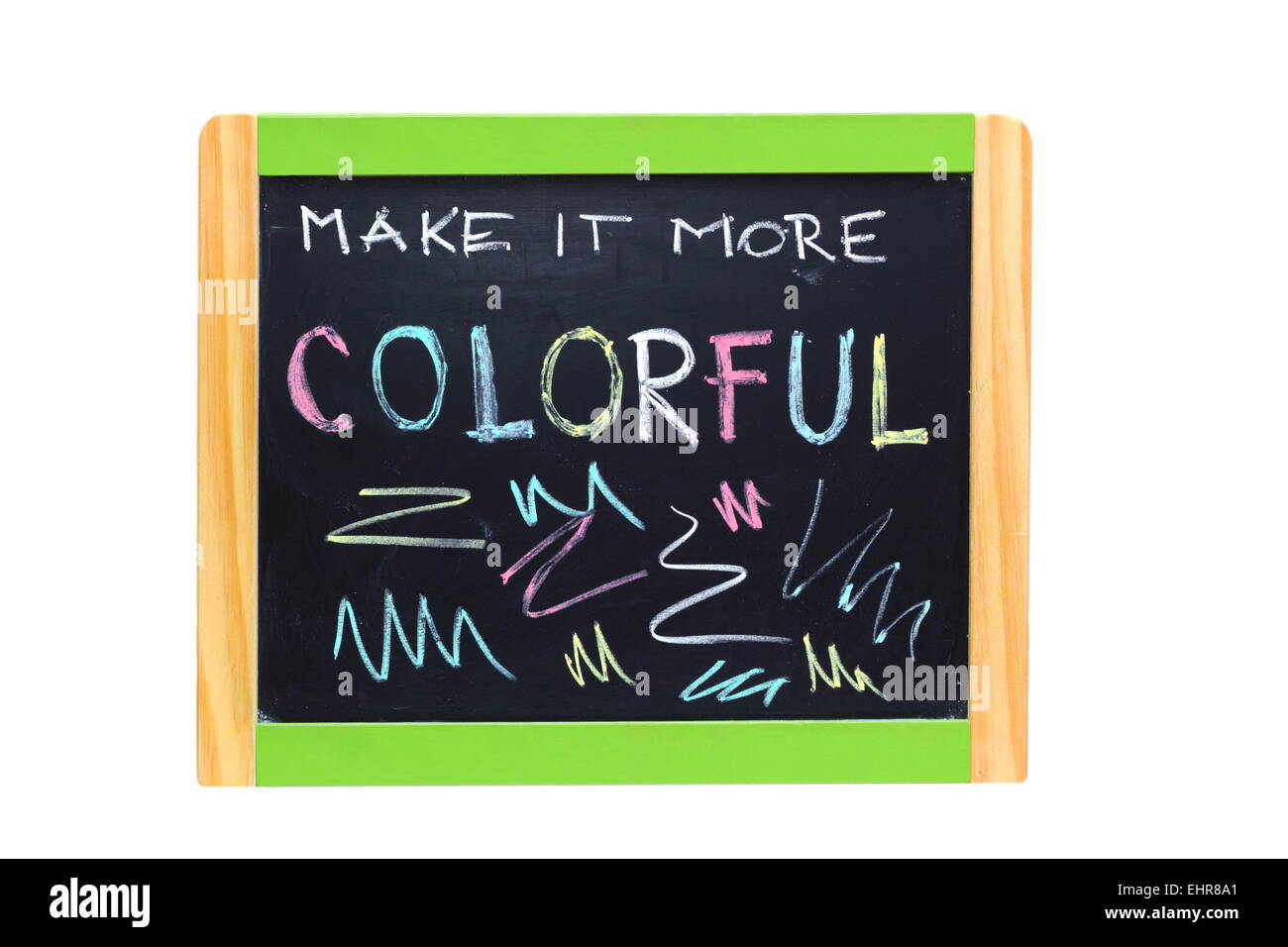 concept hand written with color chalk on blackboard with wooden frame - Stock Image