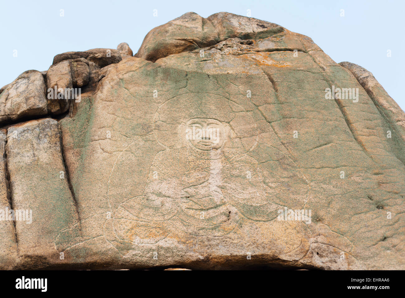 Asia, Republic of Korea, South Korea, Gyeongsangbuk-do, Gyeongju, Mt Namsan National Park, rock carved buddha image, - Stock Image