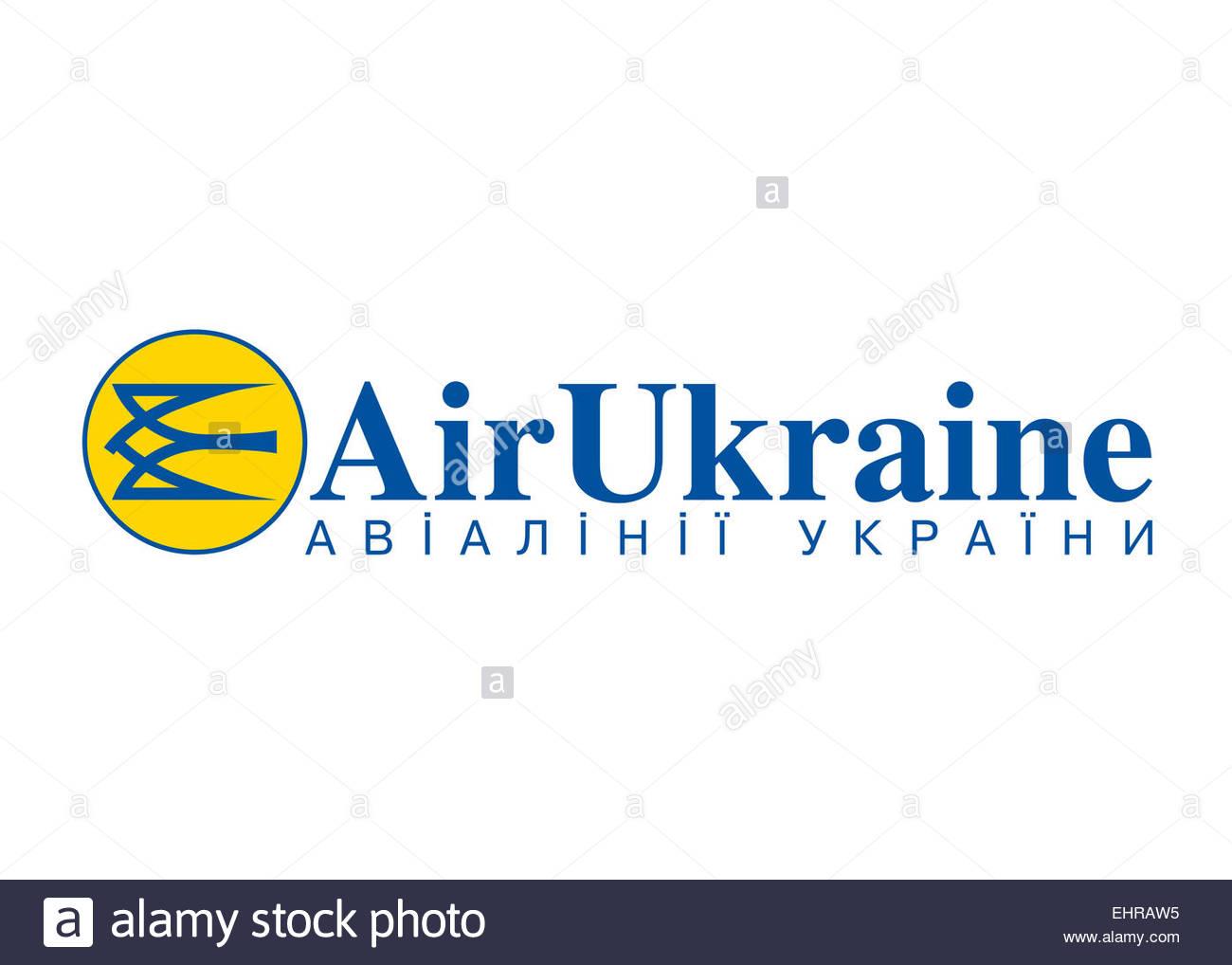 Air Ukraine logo symbol icon flag emblem - Stock Image