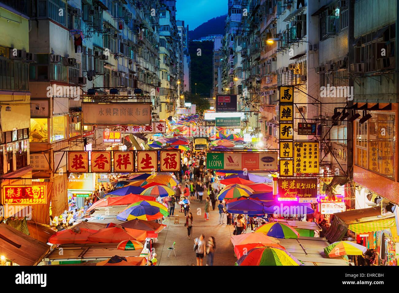 Hong Kong, Hong Kong SAR -November 08, 2014: Busy street market at Fa Yuen Street at Mong Kok area of Kowloon, Hong - Stock Image