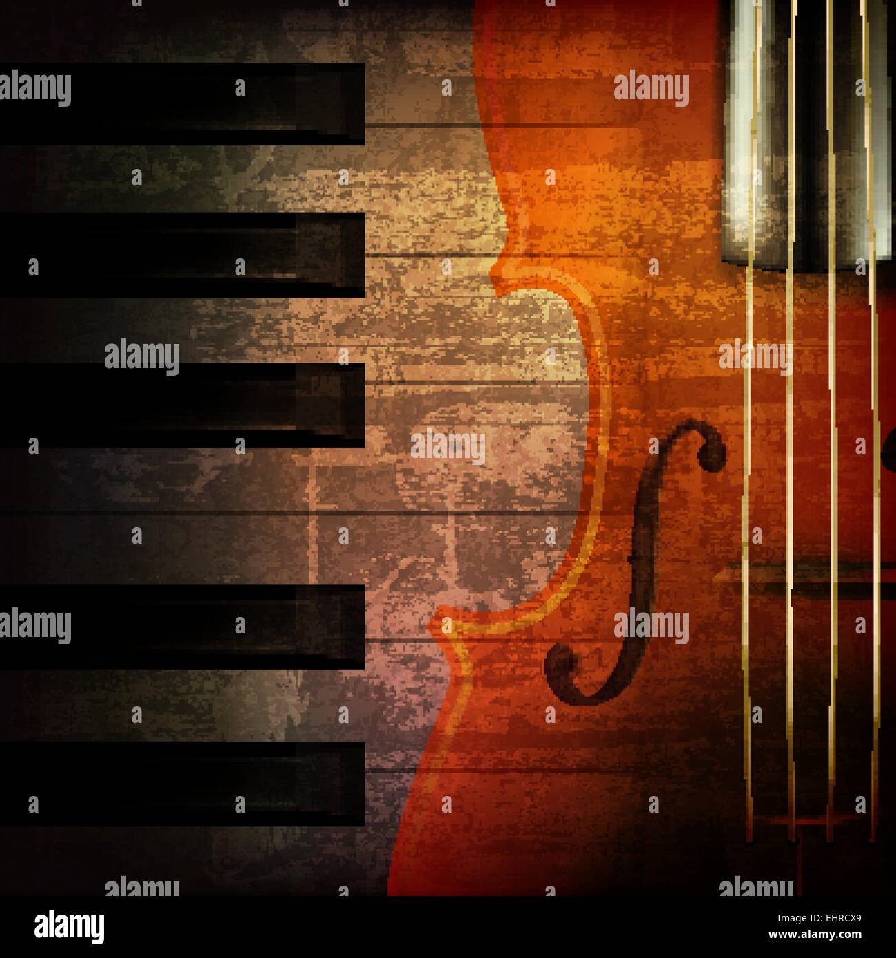 Violin Wallpaper: Abstract Brown Grunge Music Background With Violin Stock