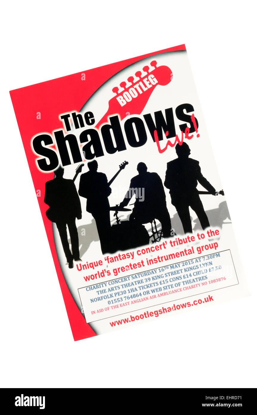 Promotional flyer for 2015 appearance of Shadows tribute band, The Bootleg Shadows. - Stock Image
