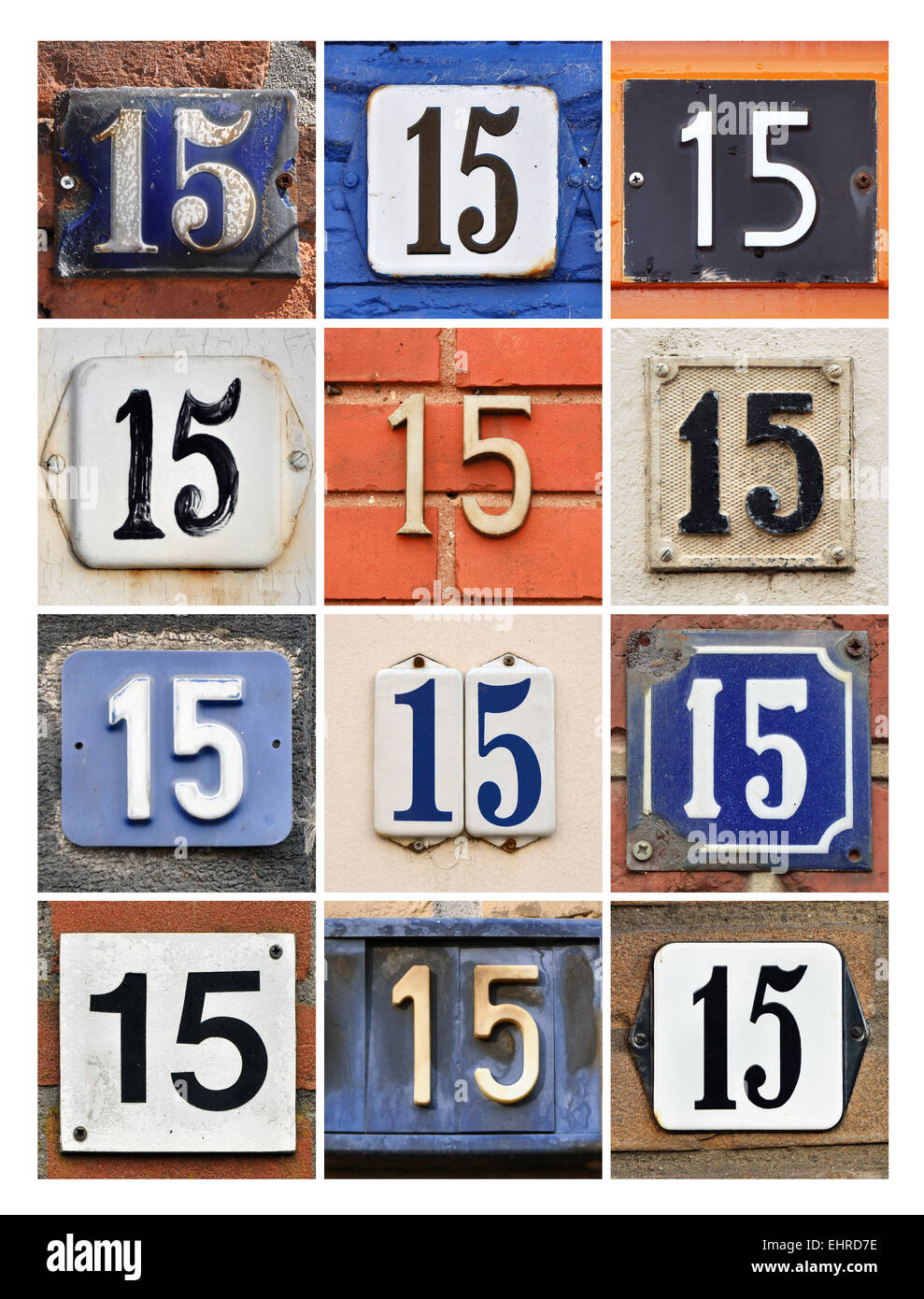 Number 15 - Collage of House Numbers Fifteen - Stock Image