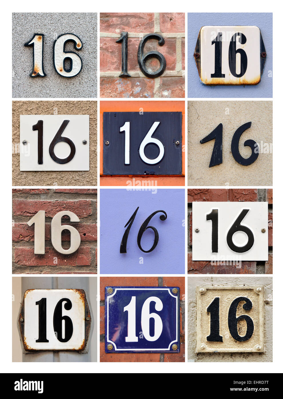 Number 16 - Collage of House Numbers Sixteen - Stock Image