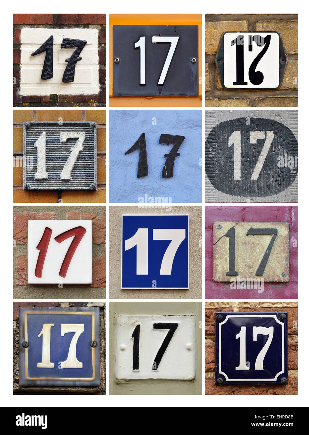 Number 17 - Collage of House Numbers Seventeen - Stock Image