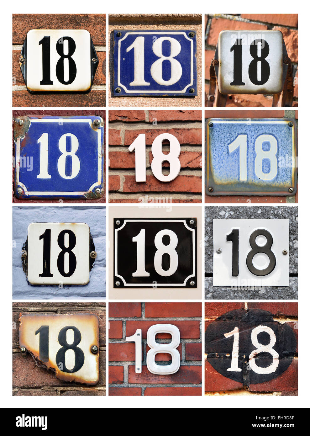Number 18 - Collage of House Numbers Eighteen - Stock Image