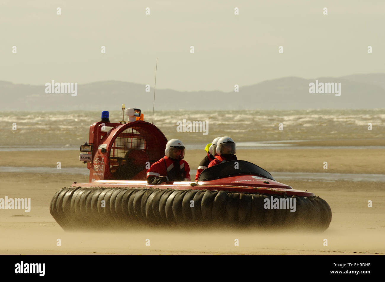 Hovercraft Rescue Team, Rhyl Beach, North East Wales - Stock Image