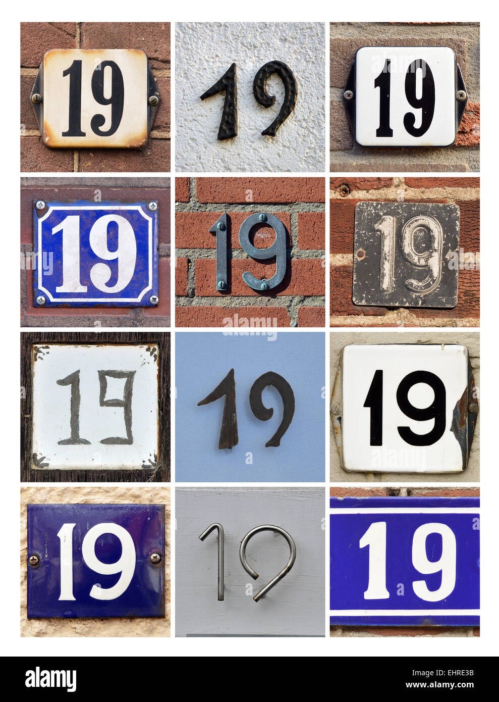 Number 19 - Collage of House Numbers Nineteen - Stock Image