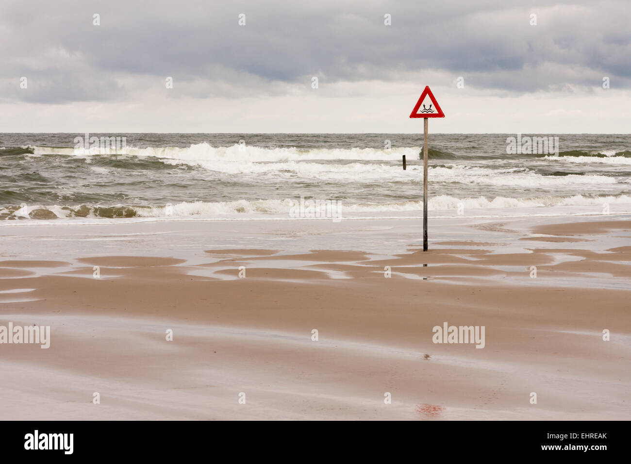 danger label at the North Sea Stock Photo