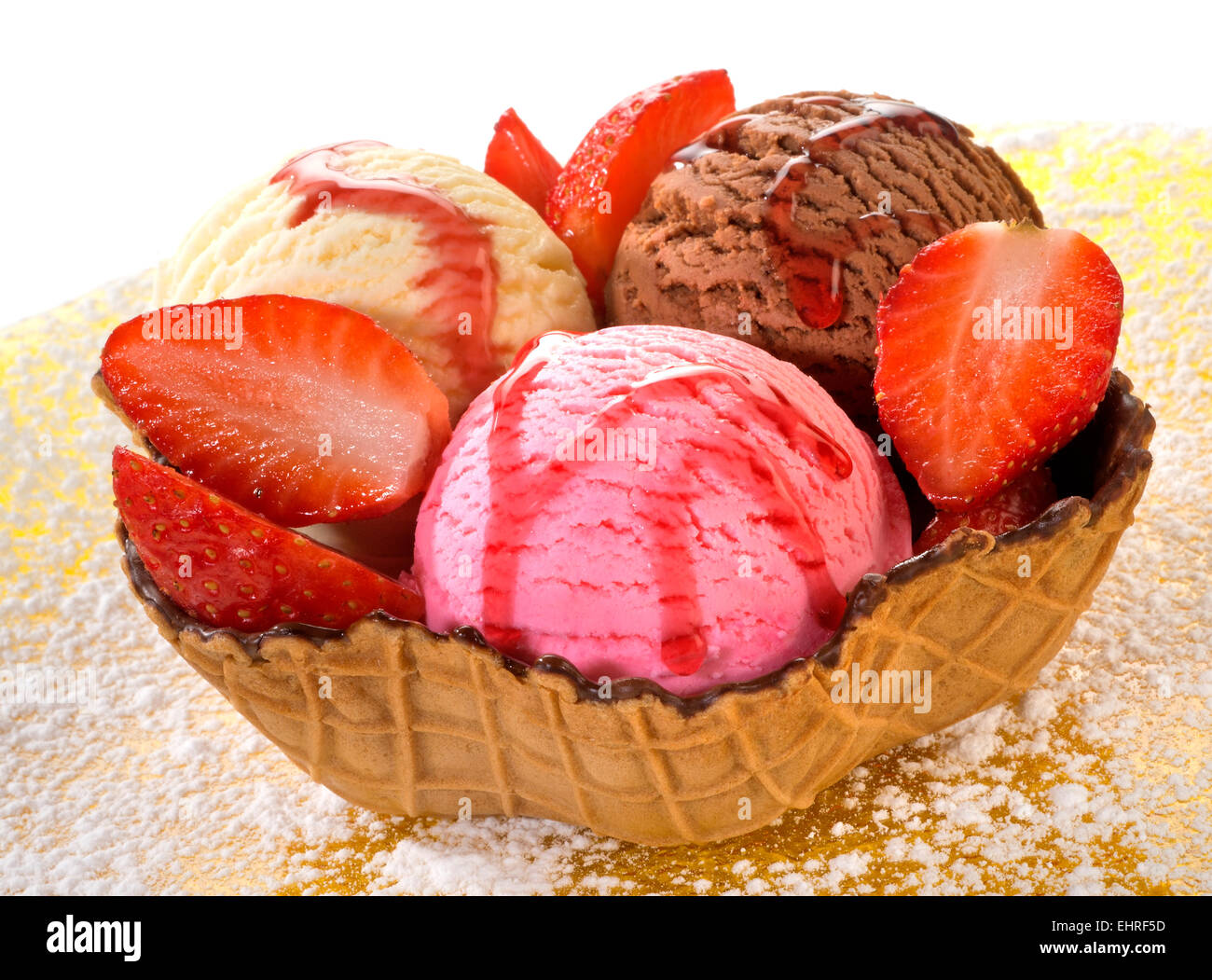 Mixed ice cream in wafer - Stock Image