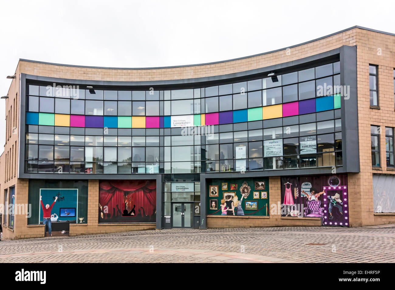 Hamilton Towers with New College Lanarkshire in Town Square Castle Street Hamilton South Lanarkshire Scotland - Stock Image