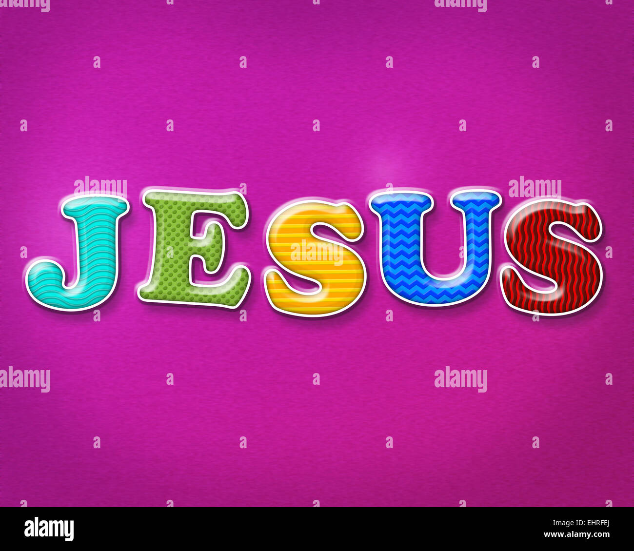 The name of JESUS written in colorful and playful patterns and Stock ...