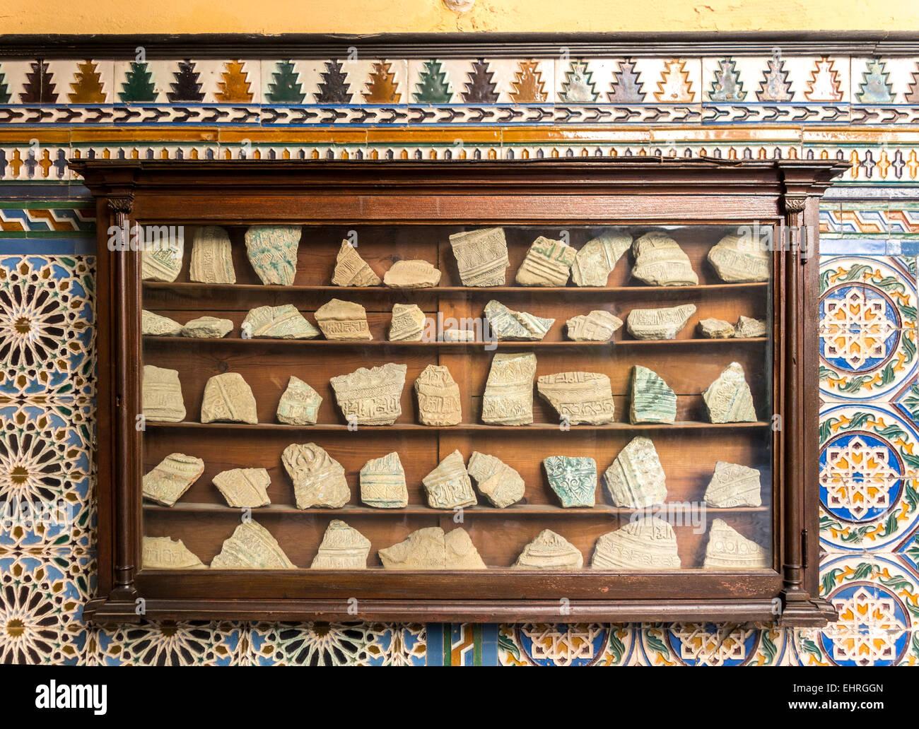 Seville Spain Palace of the Countess of Lebrija Sevilla Palacio de la Condesa de Lebrija, archeological finds in - Stock Image