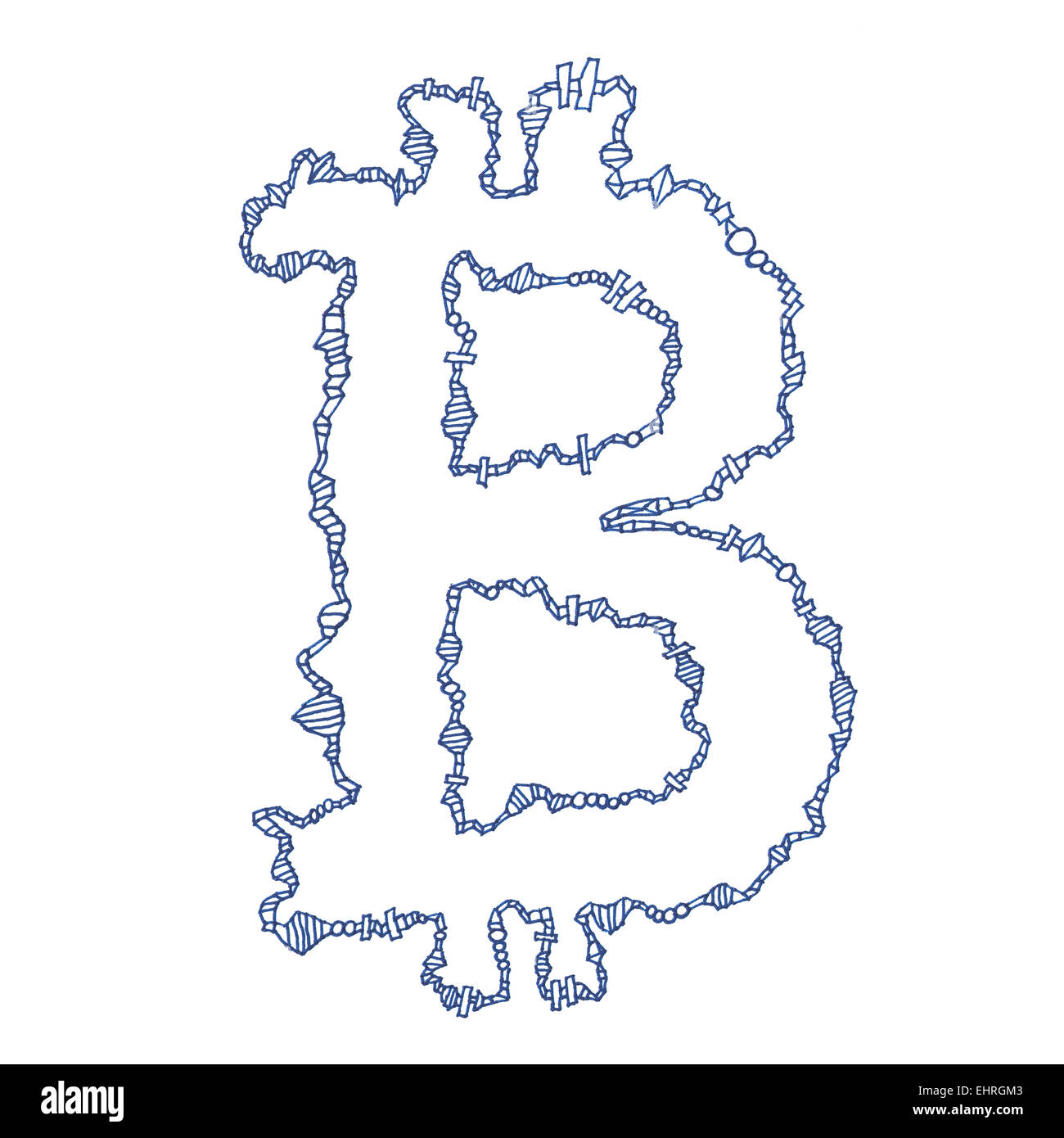 Bitcoin Symbol Handmade Drawing Of A Digital Decentralized Crypto