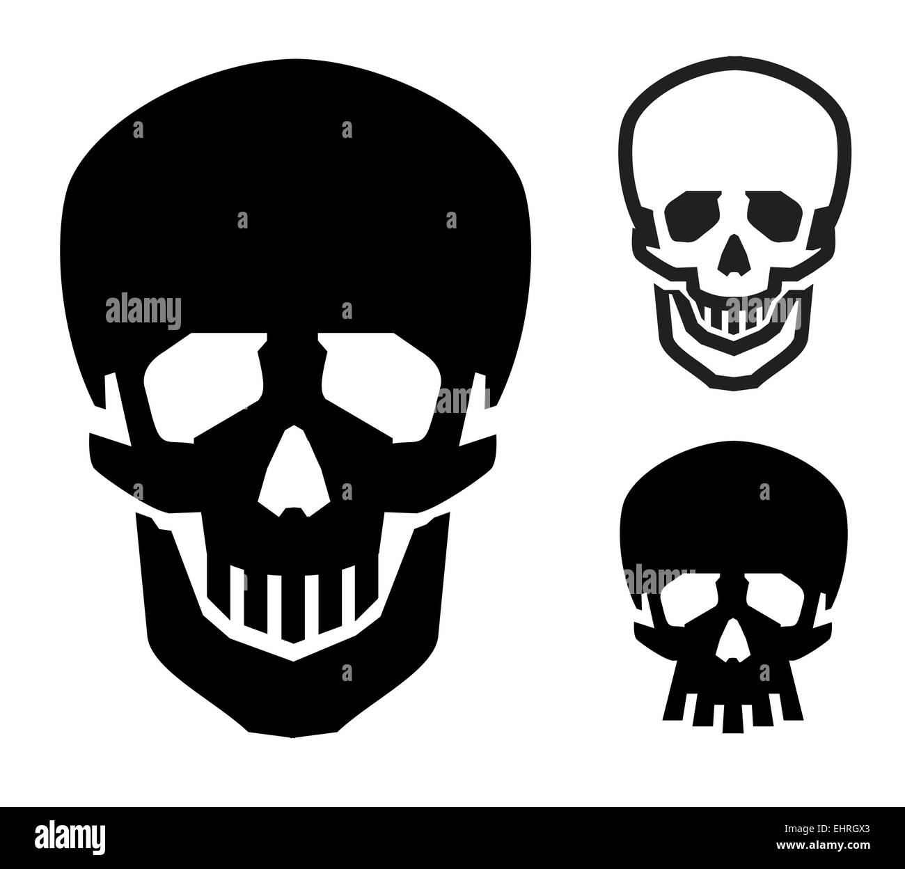 skull vector logo design template. Jolly Roger or zombie icon. - Stock Image