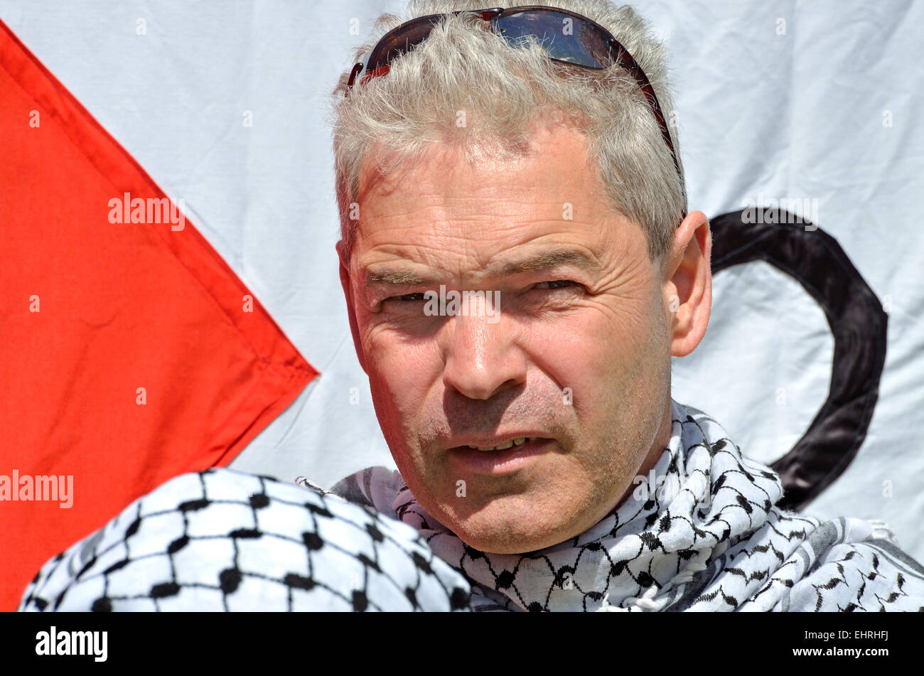 John Hilary, Executive Director of War on Want, at the March for Gaza, London, 2014 - Stock Image