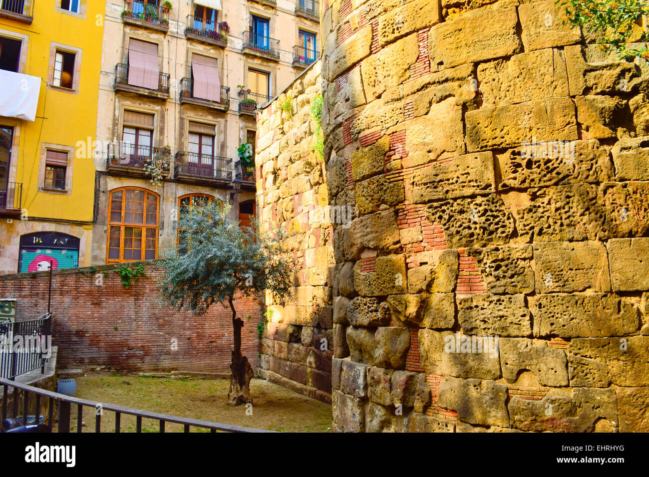 Roman tower. Barcelona, Catalonia, Spain. - Stock Image