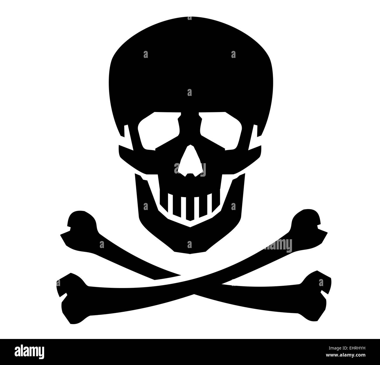 Jolly Roger vector logo design template. human skull or dead icon. - Stock Image