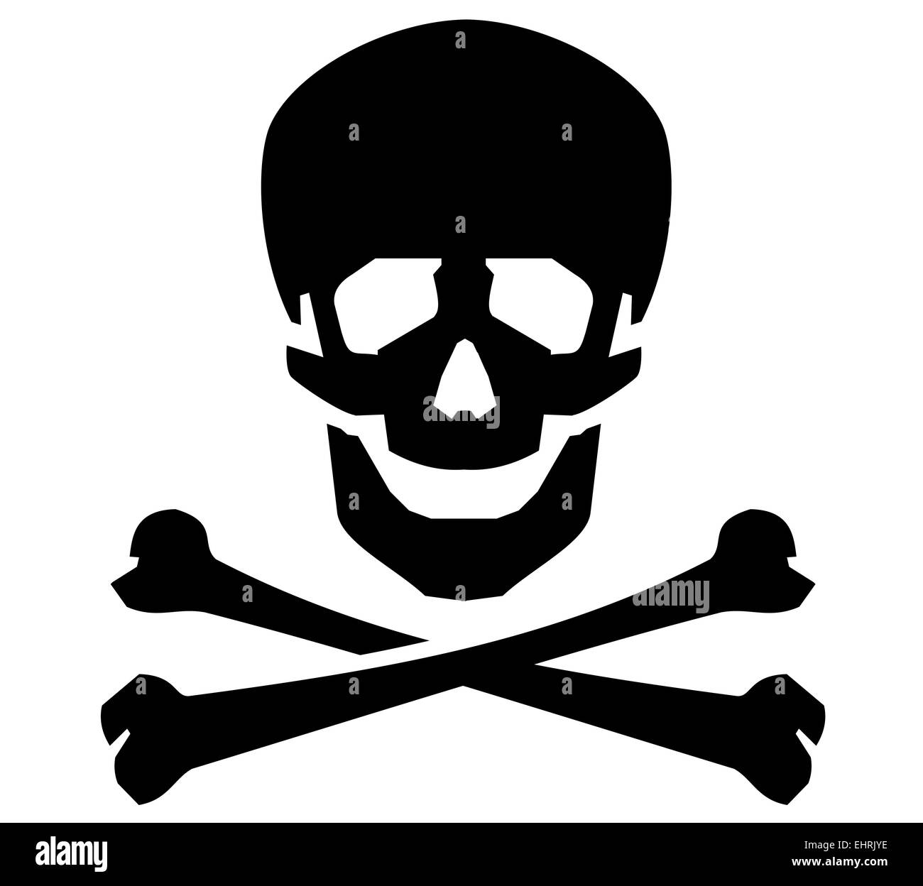 Jolly Roger vector logo design template. human skull or radiation icon. - Stock Image