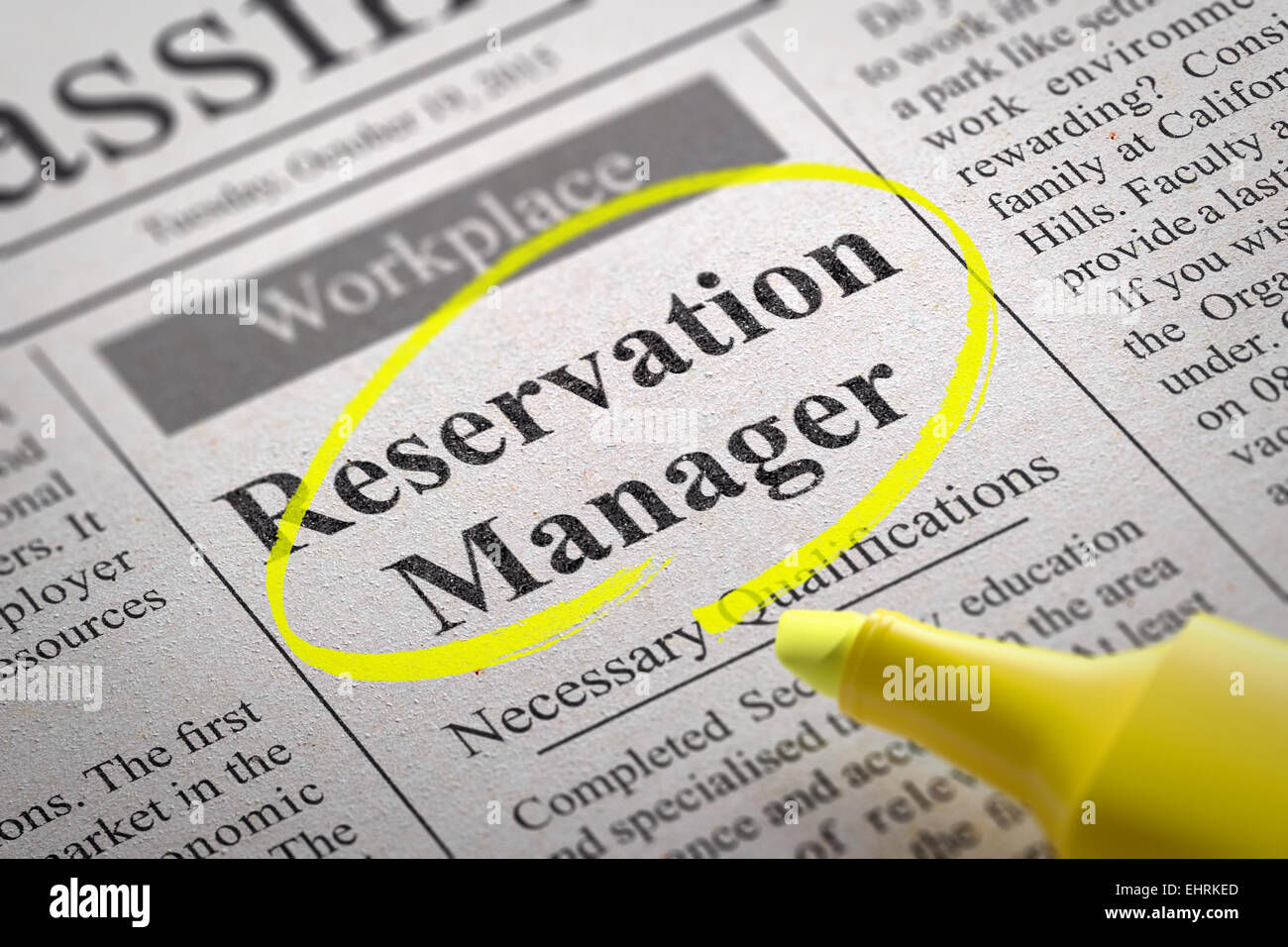 Reservation Manager Jobs in Newspaper. - Stock Image