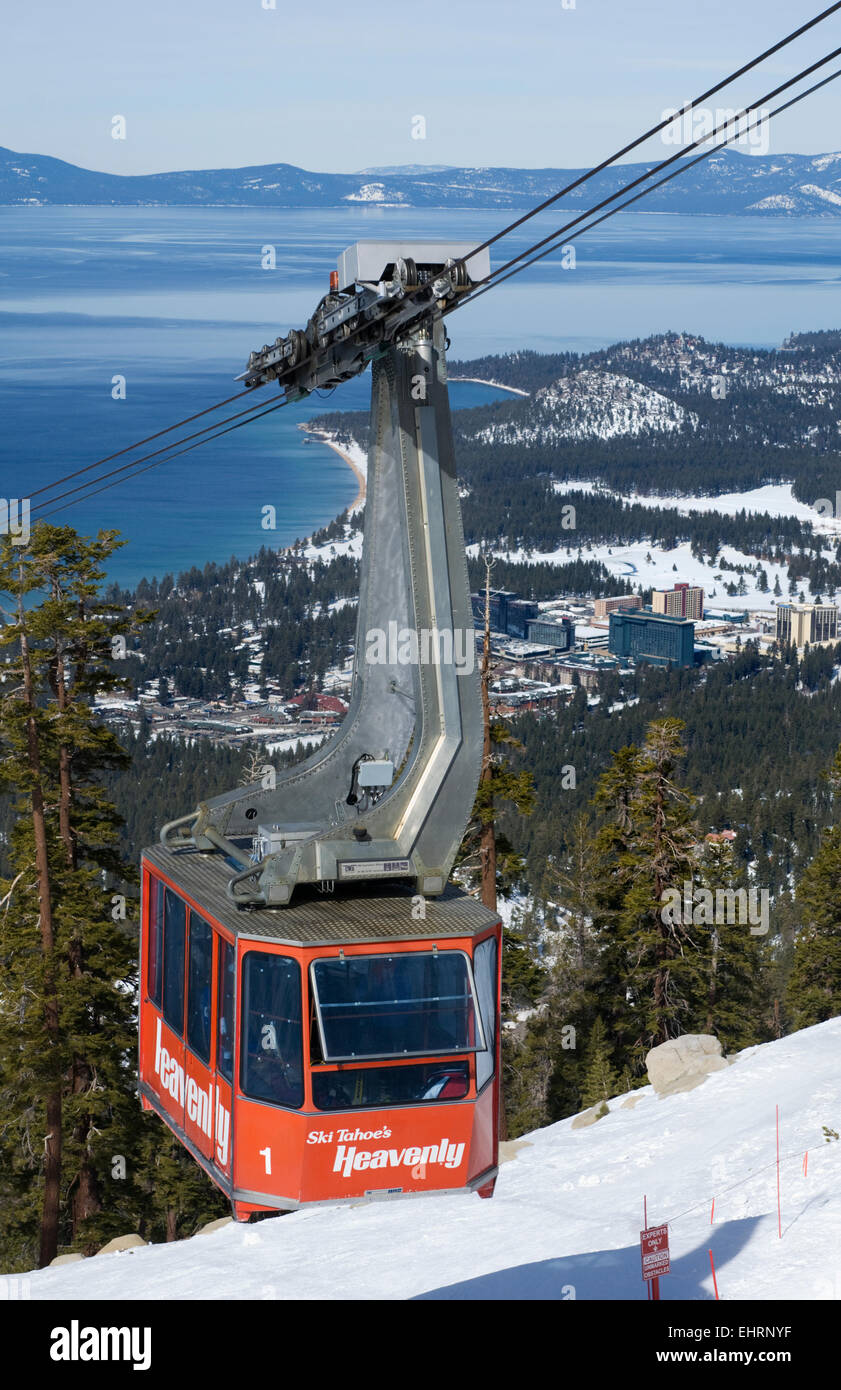 Heavenly Aerial Tram, Heavenly Ski resort with Lake Tahoe and South Lake Tahoe in the background Stock Photo