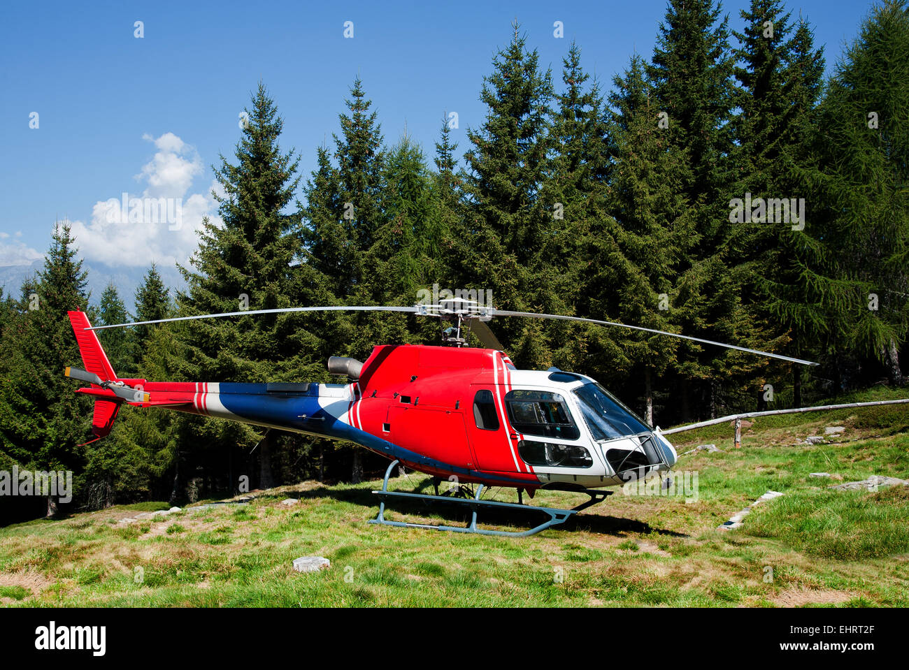 helicopter lands to in a meadow - Stock Image