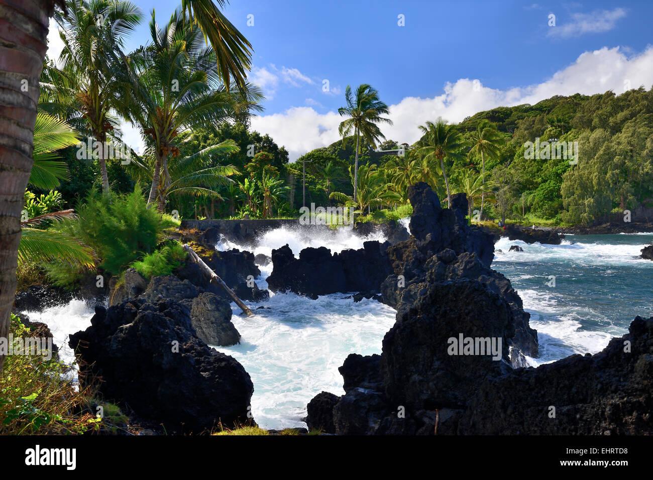 Lava rock outcrops and black sand beach along Hana Highway, Hana Coast, Maui, Hawaii, USA Stock Photo